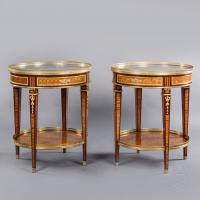 A Rare Pair of Louis XVI Style Gilt-Bronze Mounted Parquetry Gueridons.  French, Circa 1880.